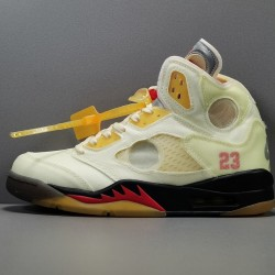 "OG BATCH Off White x Air Jordan 5 Retro ""Sail"" DH8565 100"